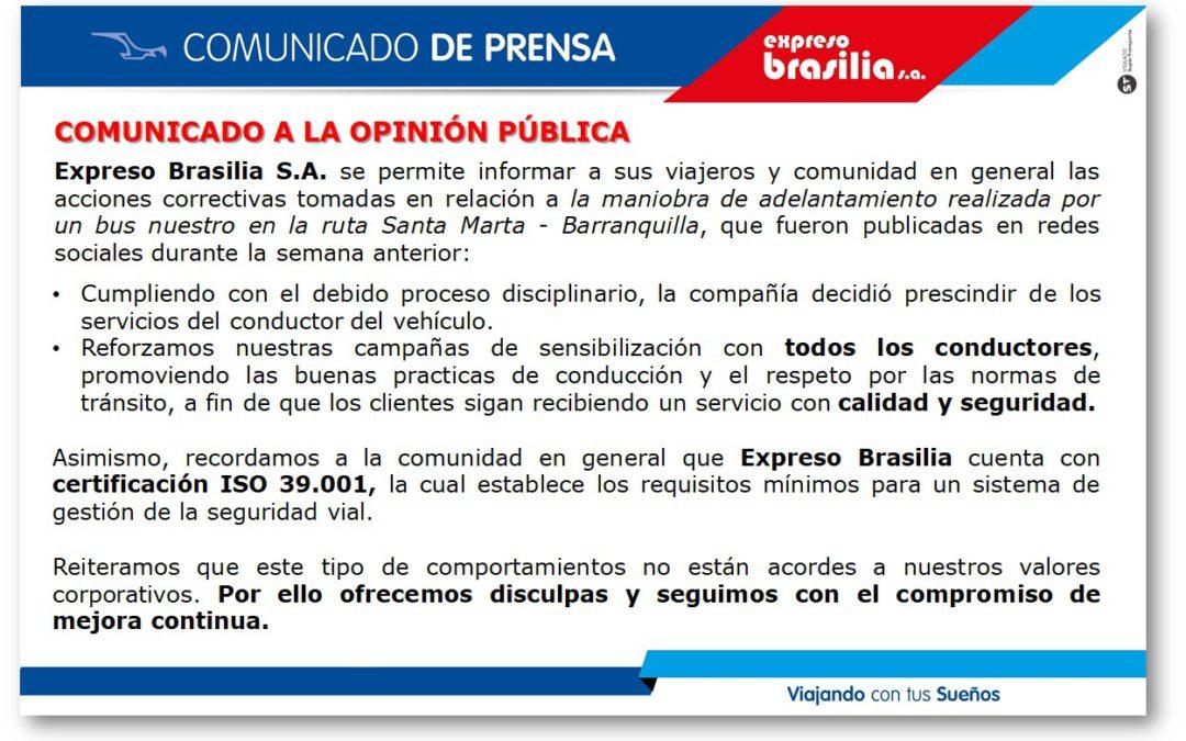 COMUNICADO A LA OPINIÓN PÚBLICA.