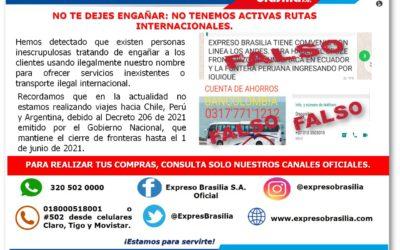 NO TENEMOS ACTIVAS RUTAS INTERNACIONALES.
